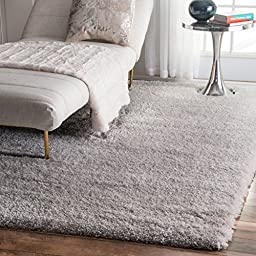 Soft & Plush Nursery Solid Silver Kids Shag Area Rugs, 5 Feet 3 Inches by 7 Feet 6 Inches (5\' 3\