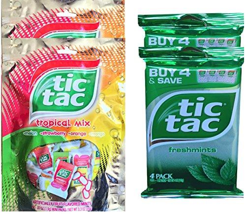 Tic Tac Freshmints Mini Packs & Tic Tac Tropical Mix Mini Packs Net Wt 3.3 Oz (4) (Tic Tac Mini Packages compare prices)
