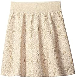 Amy Byer Big Girls\' Lace Skirt with Sparkle Yarn, Gold, Large