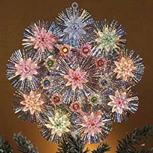 Lighted Retro Silver Tinsel Flower Christmas Tree Topper - Multi-Color Lights