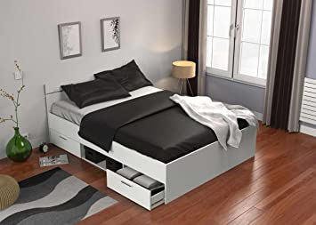 Demeyere - Cama con 2cajones/nicho - Modelo Michigan - Fabricada en madera aglomerada - Color blanco perla - Dimensiones 140x 190cm