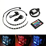 ATTAV RGB Magnetic LED Light Strip Full Kit for PC Computer Case, Fixed by Powerful Magnet, Multi Function Remote Control, Color Changing, 12-Inch 18 LEDs(Included 2 LED Strip)