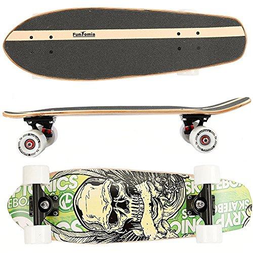 FunTomia® Skateboard 66cm - 7ply strati di acero canadese o bambù - Con o senza ruote a LED (skull / senza ruote LED / 7 strati di acero canadese)