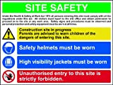 Site Safety Composite sign 1mm rigid plastic 800 x 600mm