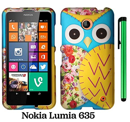 Nokia Lumia 635 (Us Carrier: T-Mobile, Metropcs, And At&T) Premium Pretty Design Protector Cover Case + 1 Of New Assorted Color Metal Stylus Touch Screen Pen (Blue Floral Owl)