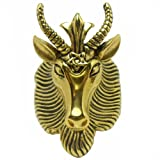 JAJAFOOK Men's Stainless Steel Satan Star of David Ram Worship Baphomet Ram Goat Head Horn Ring 7-14,Gold
