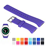 Feskio for Samsung Gear S2 SM-R720/R730 Watch Replacement Band Accessory Small/Large Size Soft Silicone Wristband Strap Smartwatch Sport Band Fit for Samsung Galaxy Gear S2 SM-720/SM-730 Smartwatch (Color: Purple, Tamaño: Small)