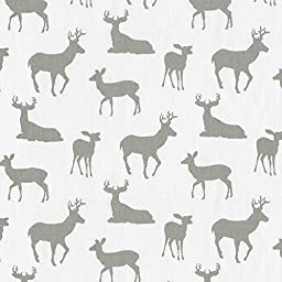 Carousel Designs White and Gray Deer Mini Crib Sheet 5-Inch-6-Inch Depth