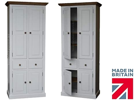 100% Solid Wood Storage Cupboard, 7ft Tall White Painted & Waxed, Multi-Purpose Storage Pantry, School/Shoe/Linen/Larder/Kitchen Cabinet. No flat Packs, No assembly (CUTF7ED)
