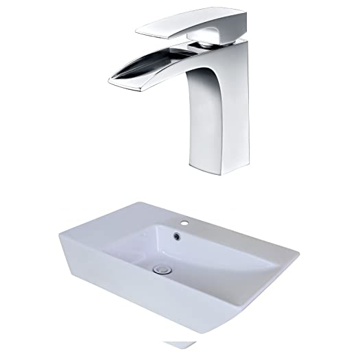 "Jade Bath JB-18063 25"" W x 15"" D Rectangle Vessel Set with Single Hole CUPC Faucet, White"