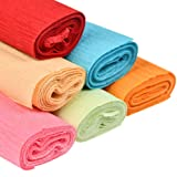 WOWOSS 6 Pcs Colorful Crepe Paper Rolls, 8.2ft Length x 20 inch Width Handmade Crinkled Paper for Wedding Birthday Party Home Shop Decoration