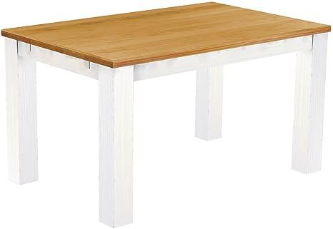 """Brasil """"Rio classico tavolo da pranzo, 140x 90cm, in legno di pino massiccio, colore miele–bianco"""