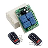 4 Channel DC12V 433MHz Remote Inching Relay Module Wireless RF Switch for Truck Lift Tailgate,2 Transmitter and 1 Switch (Color: 12V 4ch relay module)