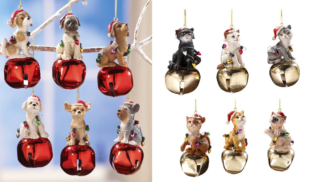Collectible Holiday Pets Jingle Bell Ornaments - Set Of 6 Dog
