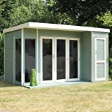 12ft x 8ft Contemporary Shiplap Pent Wooden Garden Summerhouse - Brand New 12x8 Tongue and Groove Corner Wood Summerhouses