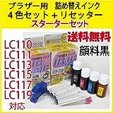 【ZB113ST+RST】ブラザー用【LC110/LC111/LC113/LC115/LC117/LC119対応】詰め替えインク(4色セット)(ブラック顔料+Y,M,C)(リセッター付きスターターセット)