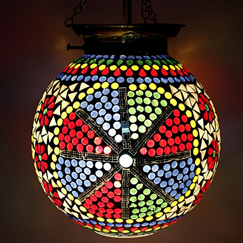 EarthenMetal Handcrafted Spherical Shaped Shaped Multicoloured Glass Hanging Light