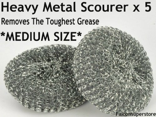 5-x-heavy-dutymetal-scourers-free-uk-post-tough-grease-aliminiuim-scrubber-metal-scouring-pad-steel-