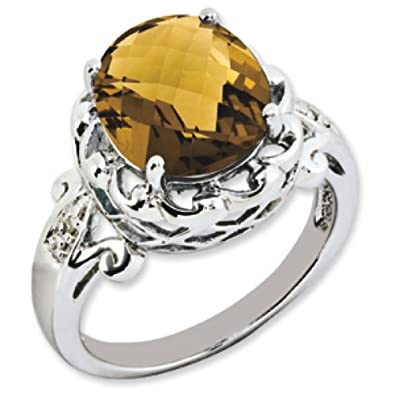 Sterling Silver Oval Whiskey Quartz and Rough Diamond Ring - Size N 1/2 - JewelryWeb