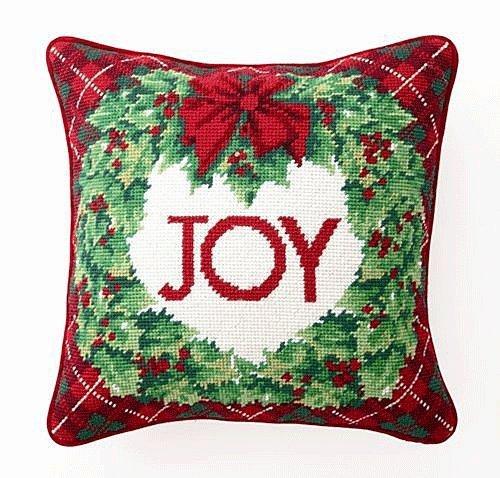 Tartan JOY Wreath Wool Needlepoint