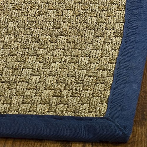 Safavieh Natural Fiber Collection NF114E Natural and Blue Seagrass Area Rug, 2 feet by 3 feet (2'x 3')