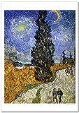 世界の名画 ゴッホ 糸杉と星の見える道 ジークレー技法 高級ポスター (A2/420ミリ×594ミリ)