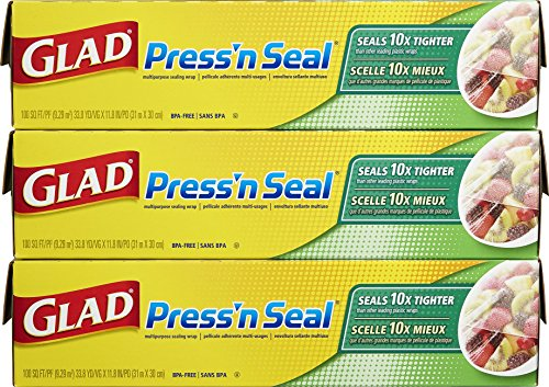 Glad Press'N Seal Wrap, 3 Count (100Sq.Ft. Each)