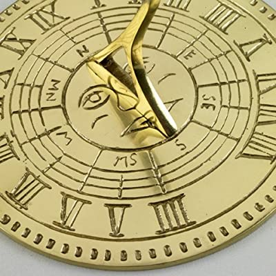 Sun Dial with Sun Face in Solid Polished Brass OGD221