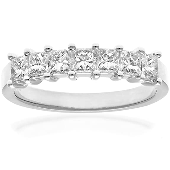 Naava 18ct White Gold Eternity Ring, J/SI Certified Diamonds, Princess Cut