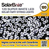 Solar Brite Deluxe Solar Fairy Lights 120 Super Bright White LED Decorative String, choice of light effect. Ideal for Trees, Gardens, Parties & More...by Solar Brite