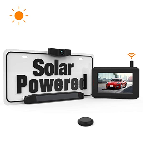 Solar Wireless Backup Camera with Stable Digital Signal, Wireless Back up Camera with Universal Bracket, Waterproof Rear-View Camera SunGo (Color: A: Solar Backup Camera)