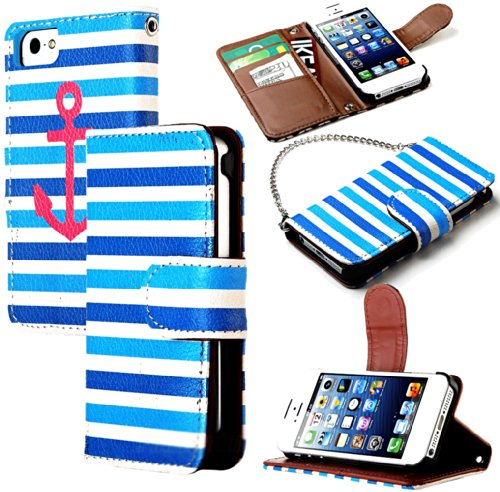 Mylife (Tm) Blue Stripes And Pink Anchor Design - Textured Koskin Faux Leather (Card And Id Holder + Magnetic Detachable Closing) Slim Wallet For Iphone 5/5S (5G) 5Th Generation Itouch Smartphone By Apple (External Rugged Synthetic Leather With Magnetic C