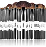 Professional Vegan 32 Piece Eco Makeup Brush Cosmetic Brushes Set Kit Synthetic Bristles with Wooden Handle, with Pouch Case Bag for Foundation, Eyeshadow and More