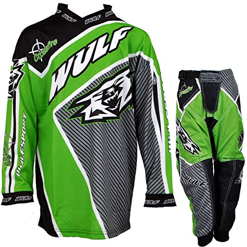 Wulfsport WSX-4 Kids Pants Kids Jersey/Shirt MX ATV/Quad Motocross Race Clothing All Colors (11 - 13 Yrs, Green)