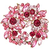 EVER FAITH Antique-Gold-Tone Crystal Leaf Wreath Brooch Pendant Pink N05844-2