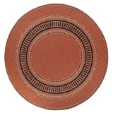 "Pueblo Outdoor Area Outdoor Area Rug, 8'6"" ROUND, TERRA COTTA BLK"