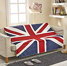 MeMoreCool Warm and Fashion Red and Blue Union Jack Blanket Comfortable Imitation Sherpa Blanket Air