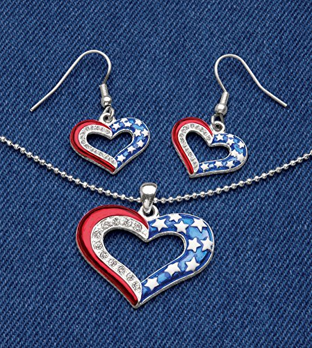 Collections Etc Patriotic At Heart Necklace And Earrings Jewelry Set