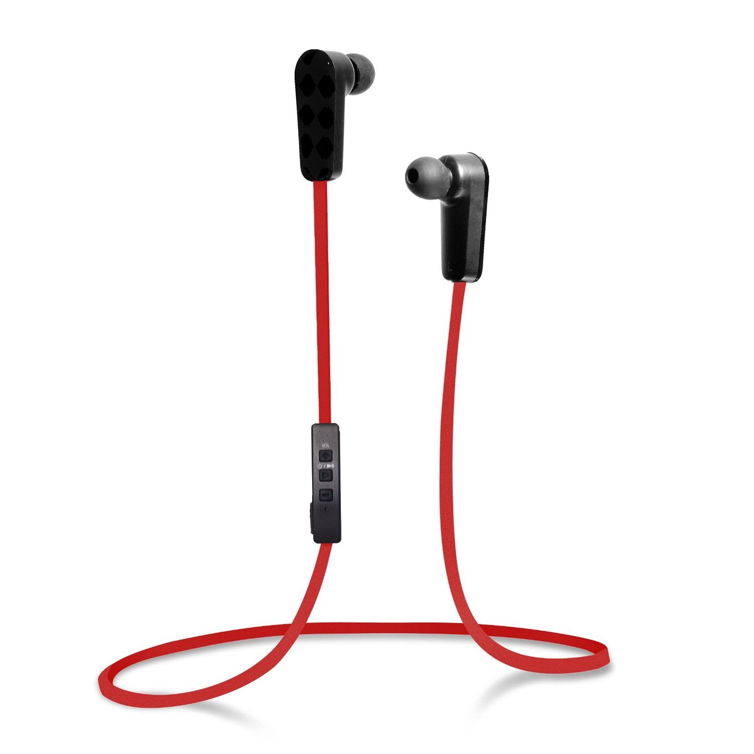 Jarv NMotion Sport Wireless Bluetooth 4.0 Stereo Earbuds/Headphones with In-Line Microphone , Red
