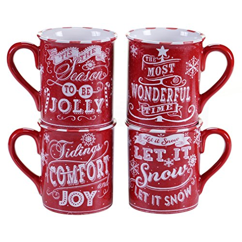Certified International Chalkboard Christmas Mugs (Set of 4), 16 oz, Red