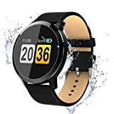 OUKITEL W1 Smart Watch,Touch Screen Bluetooth Wristwatch/Pedometer Analysis/Sleep Monitoring/Heart Rate Monitor Tracker/Blood Pressure Monitoring for Android and Long Standby iOS Smartphones (Black) (Color: black)