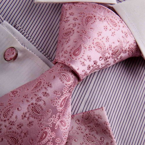 Pink designer ties men groomsman gift light pink Paisley Woven Silk Tie Hanky Cufflinks Gift Box Set Y&G business Necktie Set H7050