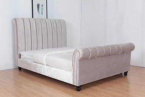 4FT6 DOUBLE PLUSH VELVET UPHOLSTERED FABRIC BED FRAME IN SILVER