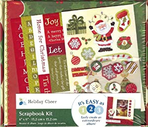 """Holiday Cheer 6""""x6"""" Postbound Holly Scrapbook Album Kit - Over 300 Pieces"""