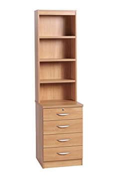 Home Office Furniture UK Four Drawer Unit Wooden Effect Cabinet HUTCH, Wood, Classic Oak, Wood Grain Profile, 2-Piece