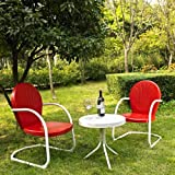 Crosley KO10004RE '3-Piece Griffith Metal Outdoor Conversation Seating Set with Two Chairs', Red/White
