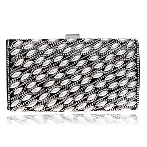 LoriLi Women's Rectangle Banquet Pearl Clutch Lady Evening Purse Bag(Black) (Bronze Straw Dispenser compare prices)