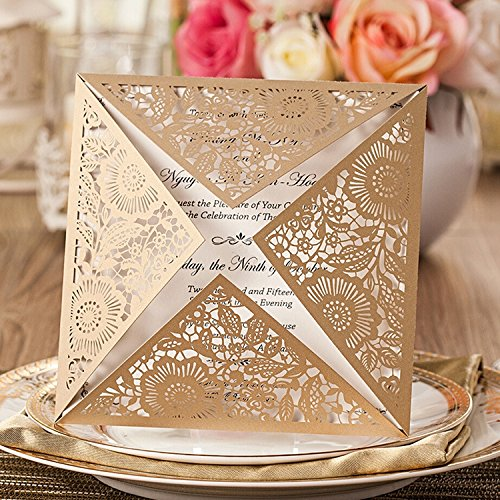Doris Home Square Gold Laser-cut Lace Flower Pattern Wedding Invitations Cards(set of 100pcs