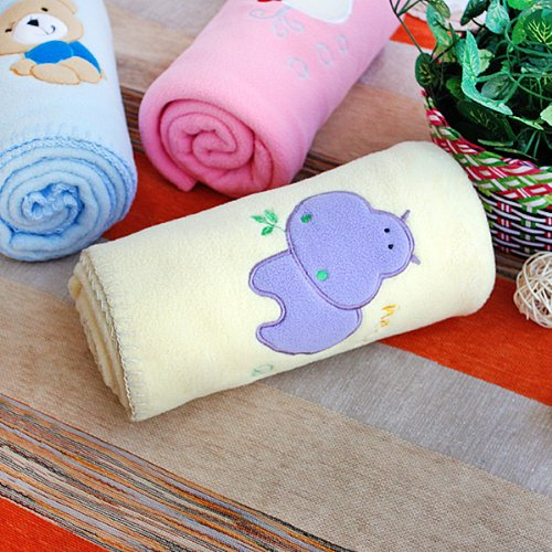 [Purple Hippo - Yellow] Embroidered Applique Coral Fleece Baby Throw Blanket (29.5 By 39.4 Inches) front-452351
