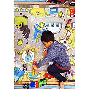 """[LEPAPA] 90.6"""" x 55.1"""" Baby Kids Toddler Le Bonheur Microfiber Car Village Premium Play Mat Carpet for Indoor and Outdoor Use, 3D Graphic, Interactive & Complex Play with Maps, Car & Trains, Road Trip"""